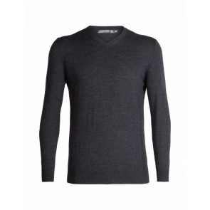 Icebreaker Mens Shearer V Sweater CHAR HTHR-20