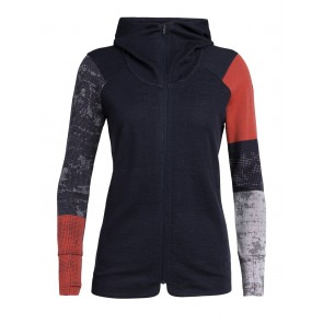 Icebreaker Wmns Away II LS Zip Hood M Midnight Navy/Fire-20