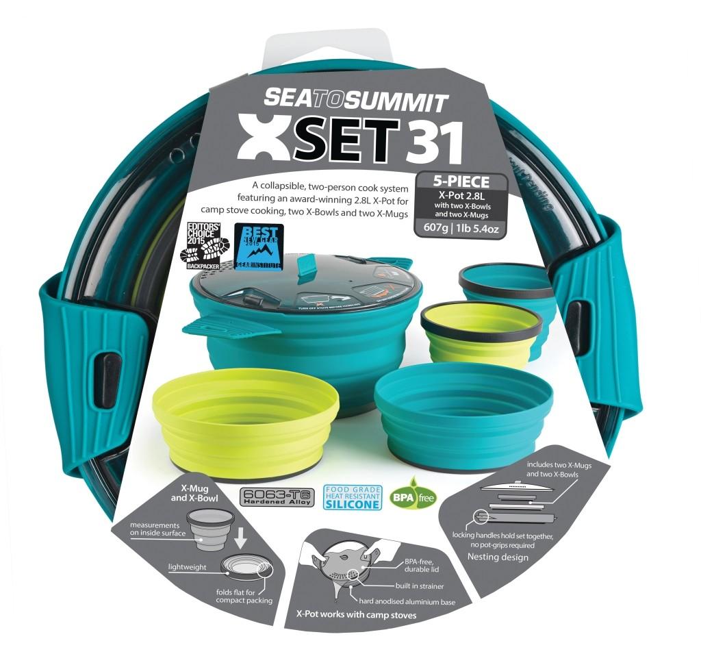 Sea To Summit X-Set: 31 5pc (X-Pot 2.8L, 2 X-Bowls, 2 X-Mugs)