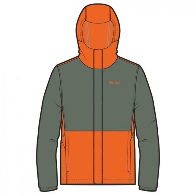 72cfffabf Marmot Boy's PreCip Eco Jacket Crocodile/Mandarin Orange - us