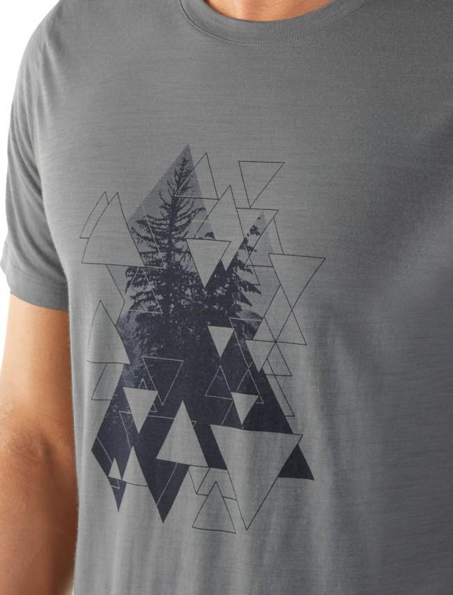 Icebreaker Mens Tech Lite Ss Crewe Evergreen Geo T Shirt