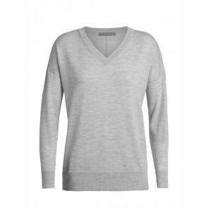 Icebreaker Wmns Shearer V Sweater STEEL HTHR-20