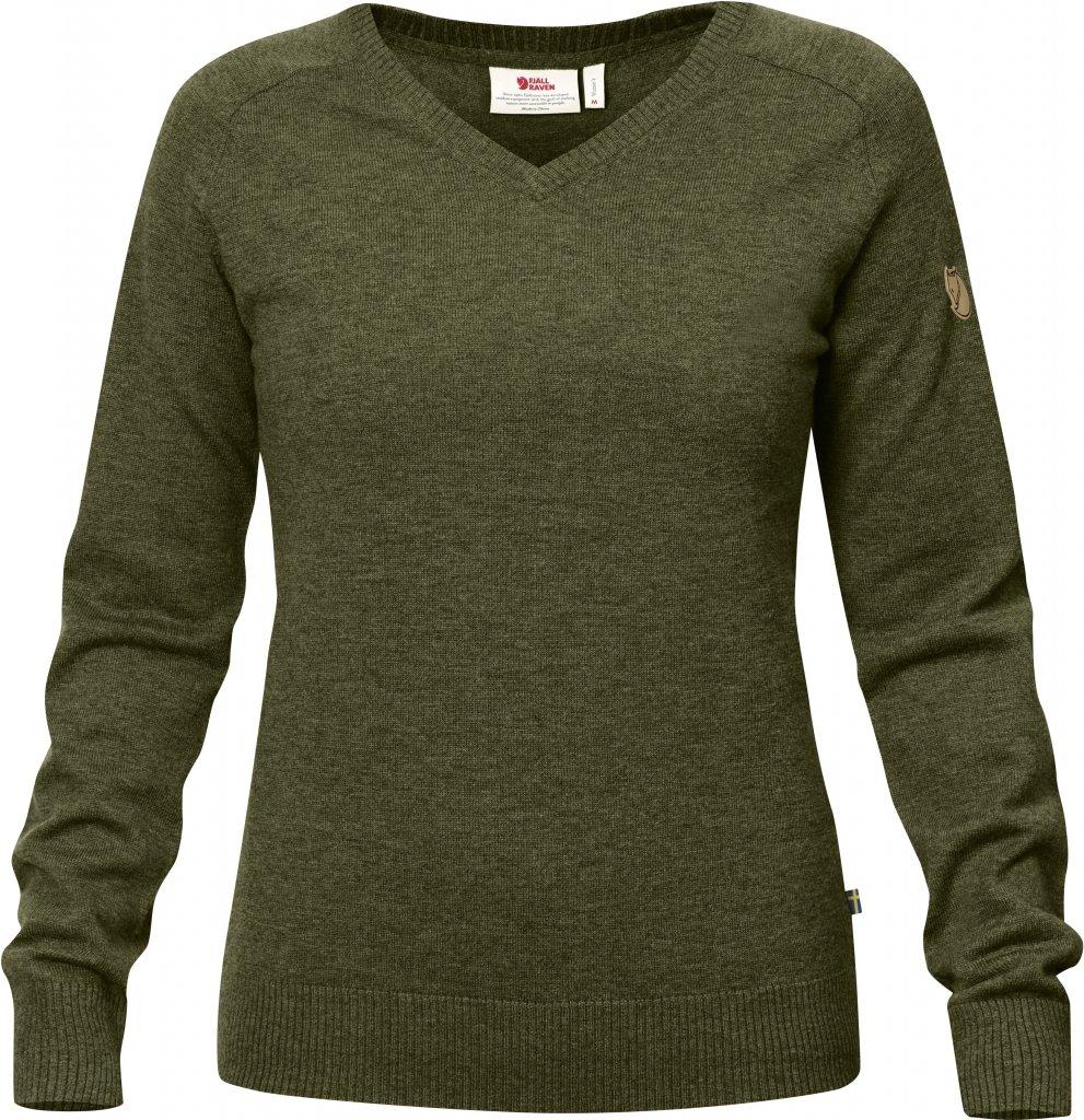 cb32159901354 FjallRaven Sormland V-Neck Sweater W Dark Olive - en